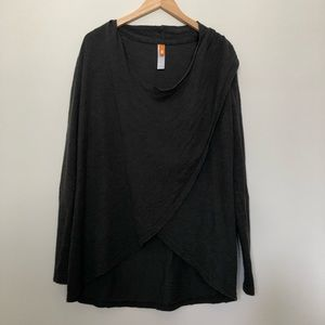 Lucy Long Sleeve Wrap Pullover in Charcoal Size S